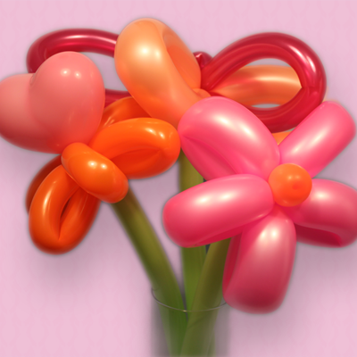 Balloon Flowers in Pink and Orange